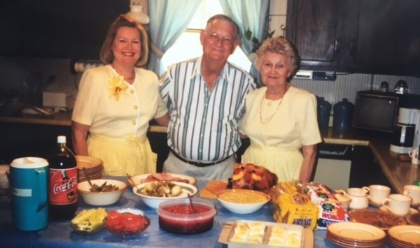 So many feasts were served at this most sacred of kitchen counters. Easter 1998, Sondra (mom), Stormy (Grandfather) and Frances (Grandmother).