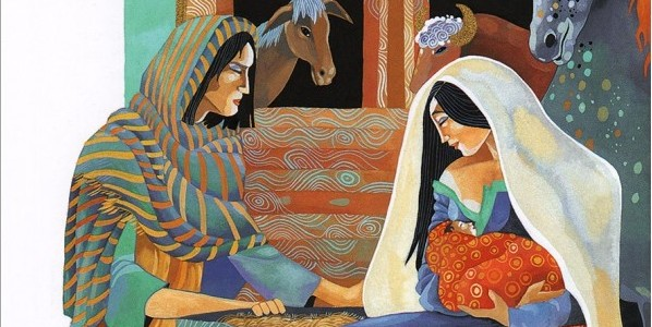 Illustration by Christina Balit of the Nativity in the Lion's Illustrated Children's Bible