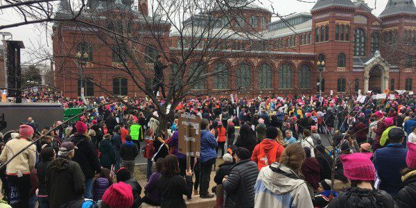 Marchers on DC outside the National Museums--Photo by Heron
