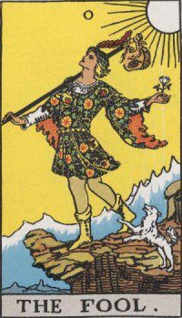Pamela Coleman Smith - a 1909 Fool Tarot card scanned by Holly Voley for the public domain,