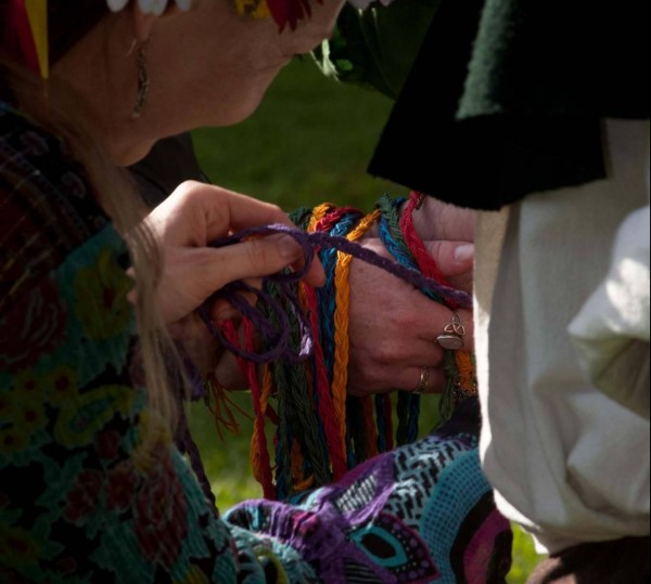 Wrapping the Handfasting Cords by Heron Michelle