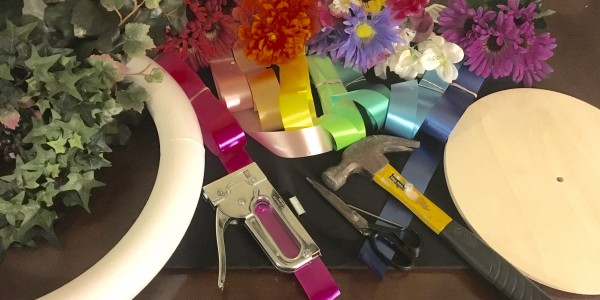 Tools and Materials needed to make a Rainbow Maypole Ribbon Topper and Wreath ~ Heron Michelle