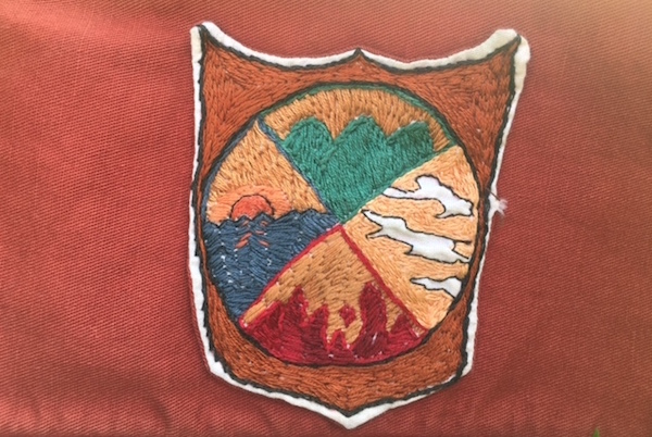The actual embroidery of the elemental magick correspondences I had no idea were real back in 1992