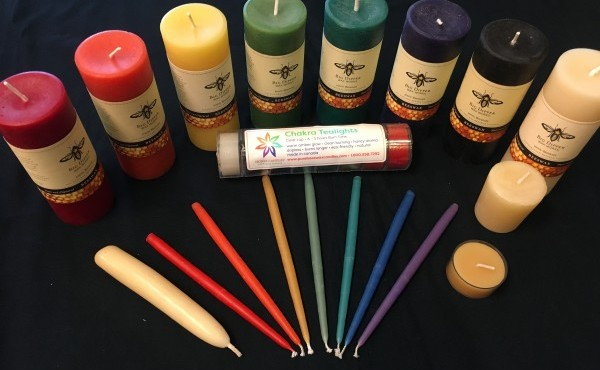 beeswax candles in a rainbow of colors and sizes