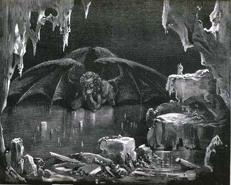 Satan in the Inferno is trapped in the frozen central zone in the Ninth Circle of Hell, Canto XXXIV By Gustave Doré - Public Domain - Wikimedia Commons