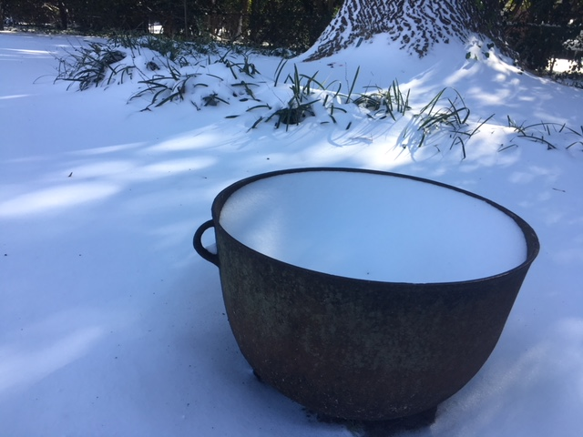 """Snowfall caught by my Great-Granny Marguerite's Cast Iron """"laundry"""" Cauldron - Photo by Heron Michelle"""