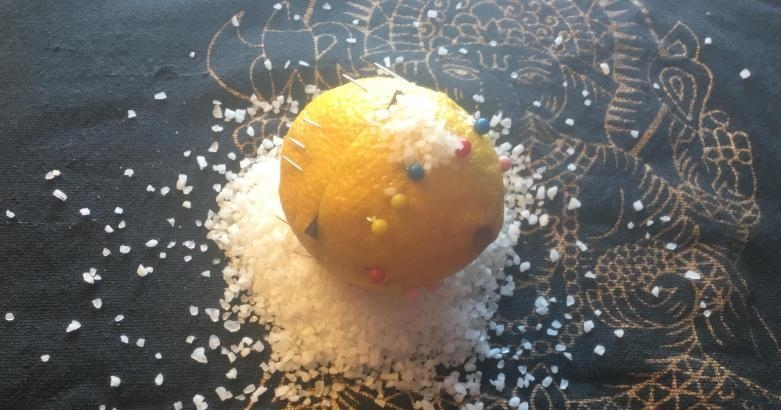 Lemon Spell - Intention Paper Inside pinned together with 13 steel pins on a Bed of Salt