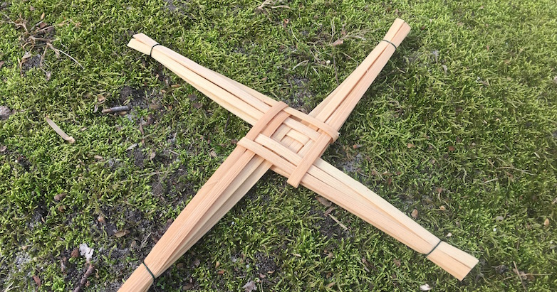Brigid's Cross of woven reeds