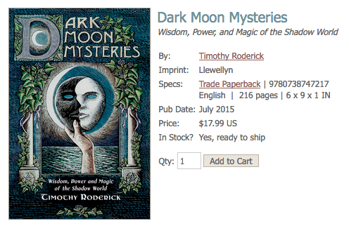 Screenshot of Dark Moon Mysteries cover by Timothy Roderick from the Llewellyn Worldwide website