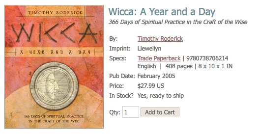 Wicca: A Year and a Day by Timothy Roderick Screenshot from Llewellyn Worldwide Publishing Website
