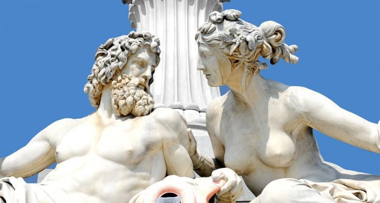 Statues of Greek God and Goddess