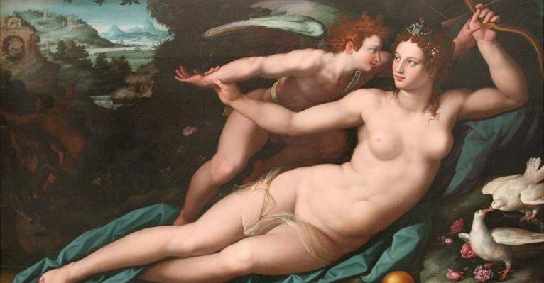 Venus and Cupid Painting by Allessandro Allori
