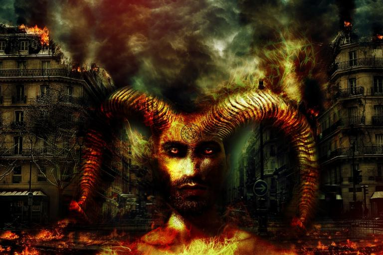 horned god and burning city