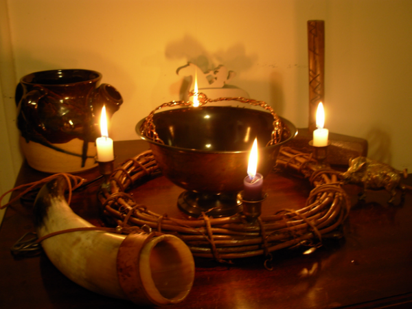 Heathen Altar, photo by Rebecca Radcliff.  From WikiMedia.