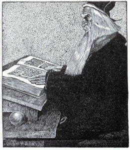 The Enchanter Merlin, by Howard Pyle, from The Story of King Arthur and His Knights (1903)