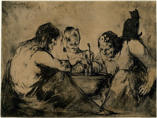 Witches over a Cauldron, done on the backside of an etching of a young girl's portrait by Theodule Ribot 1823-1891