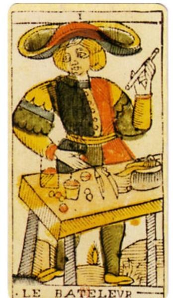 Le Bateleur, Tarot de Marseille.  18th century tarot of Jean Dodal.