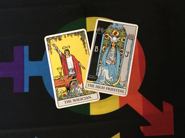 Magician and Priestess cards in Rider-Waite Tarot Deck. Photo by Coby Michael.