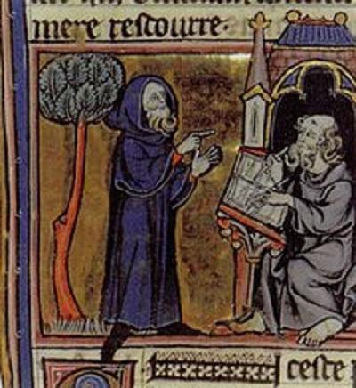 13th Century Illumination of Merlin by Robert de Boron.