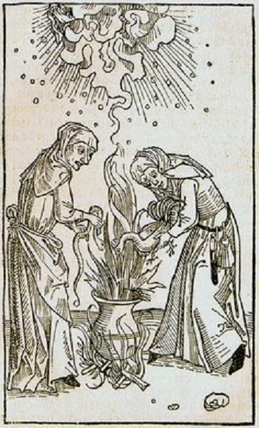 Woodcut from De Lamiis et pythonicis mulieribus, Ulrich Molitor, 1508.