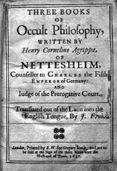 Three Books of Occult Philosophy. Heinrich Cornelius Agrippa. Wikimedia commons.