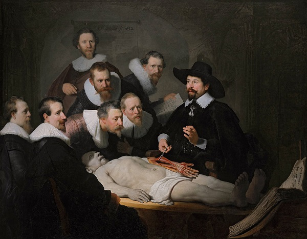 The Anatomy Lesson of Dr. Nicolaes Tulp. Rembrandt 1632. Wikipedia Public domain.
