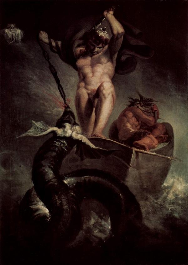Thor and the Midgard Serpent. Johan Heinrich Füssli.  Wikimedia Commons Image.