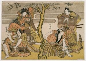 """Four Actors in a Scene"" by Katsukawa Shunsho. Source: Wikimedia Commons"