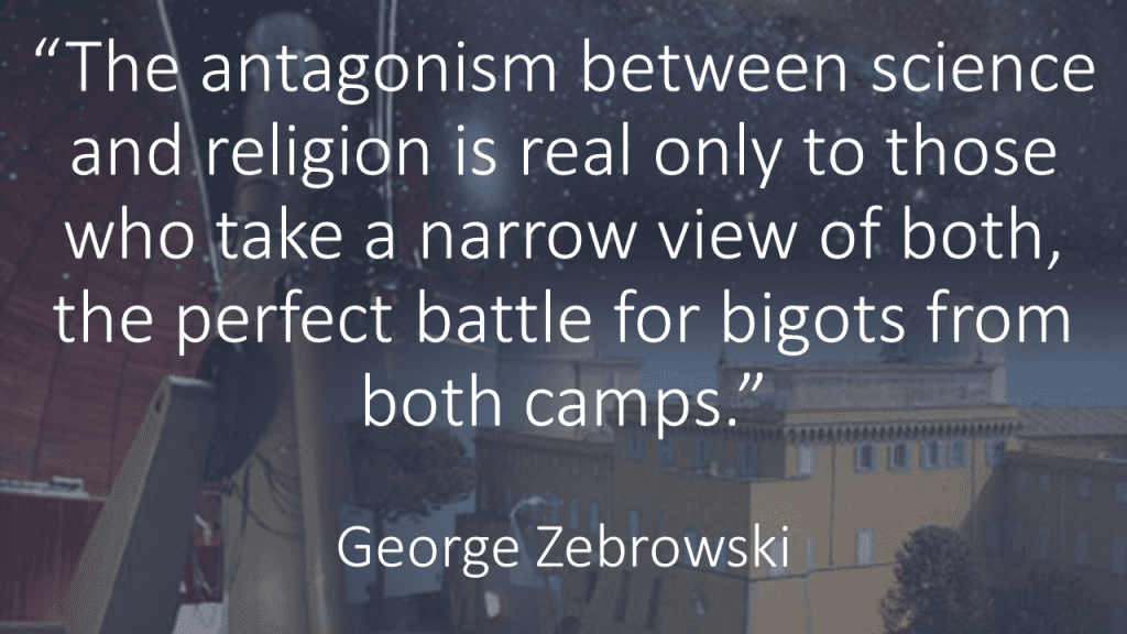 The antagonism between science and religion Zebrowski quote