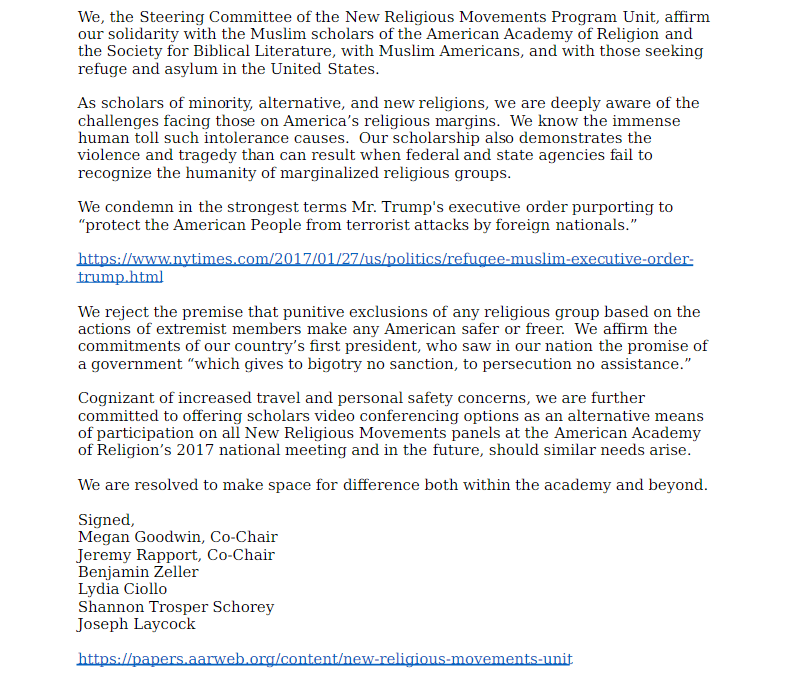 AAR NRM statement