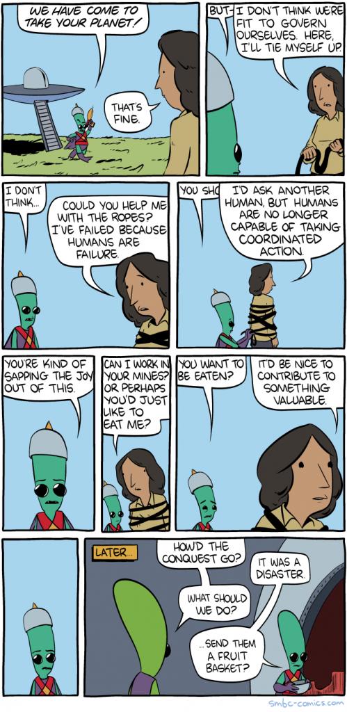 SMBC realistic alien invasion