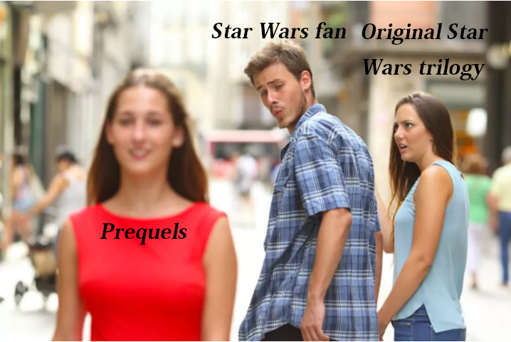 Star Wars distracted meme