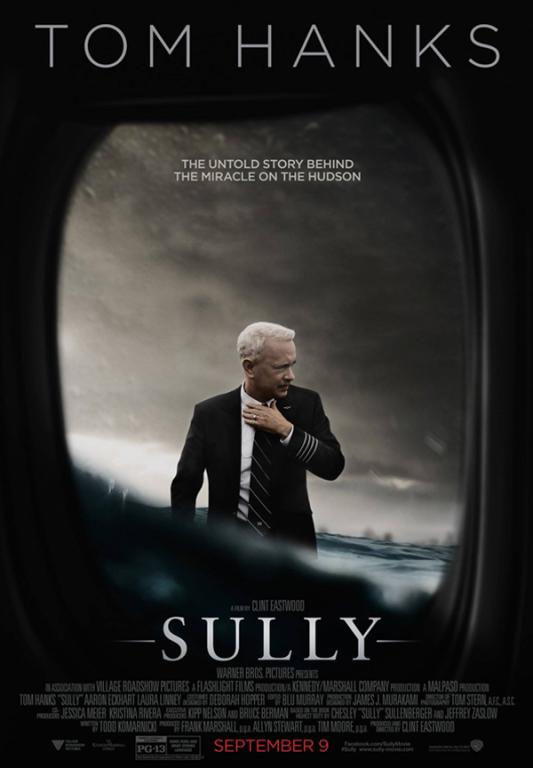 Sully is the story of Chesley Sullenberger, directed by Clint Eastwood and screenplay byt Todd Komarnicki. Movie poster courtesy of Warner Brothers Pictures
