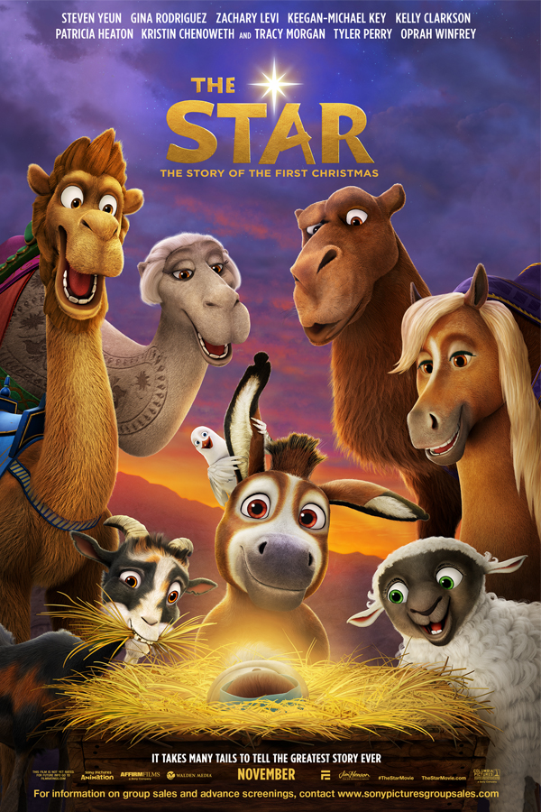 The Star from Sony Animation Pictures is an animated take on the Nativity featuring the voices of Oprah Winfrey, Tyler Perry, Steven Yeun, Patricia Heaton, and many more. Poster courtesy of Sony Pictures Animation