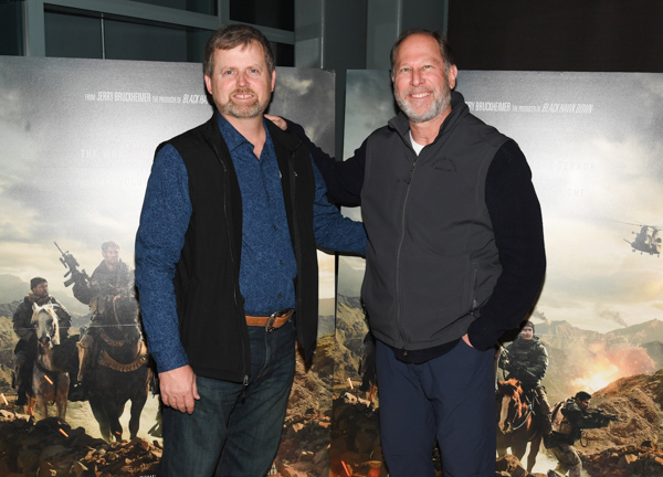 Mark Nutsch (left) and Bob Pennington are portrayed in the Warner Brothers film 12 Strong by Chris Hemsworth and Michael Shannon. Image courtesy of Allied Integrated Marketing.