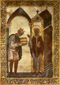 "Athelstan, c.895-939. Illuminated manuscript from Bede's Life of St Cuthbert, c.930. 29.2 x 20cm (11 1/2 x 7 7/8""). Originally from Corpus Christi College, Cambridge. - PD-Art, via Wikimedia Commons"