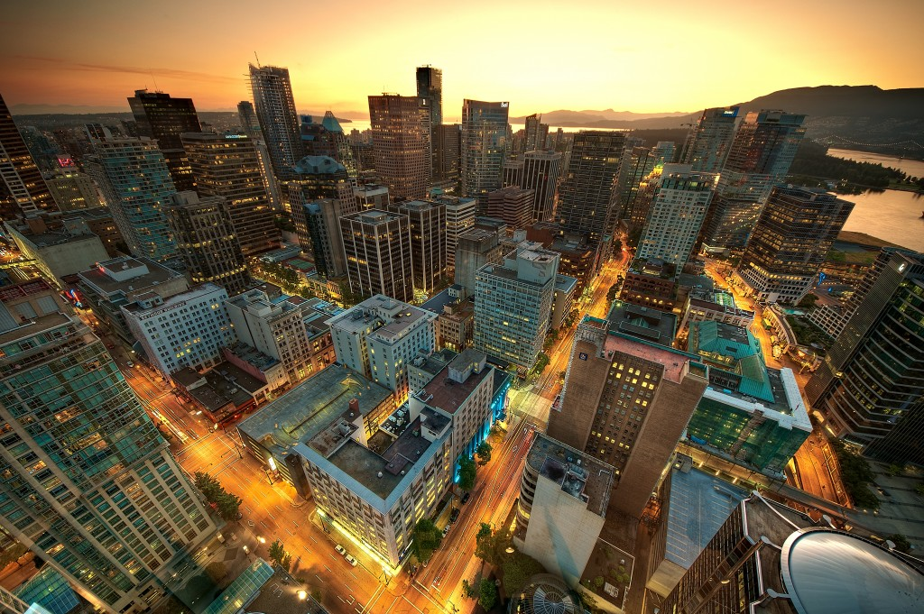 View of downtown Vancouver from the Lookout Tower at Harbour Centre - MagnusL3D, 8 August 2011 (Downtown_Vancouver_Sunset.jpg) (CC BY-SA 3.0 [https://creativecommons.org/licenses/by-sa/3.0/deed.en]), via Wikimedia Commons/Flickr