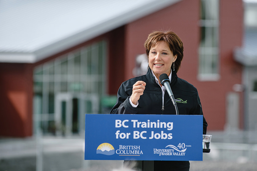 Premier Christy Clark opens Agriculture Centre of Excellence - by University of the Fraser Valley (13647995634_15fefecf31_b.jpg) [CC BY 2.0 (https://creativecommons.org/licenses/by/2.0/)], via Flickr