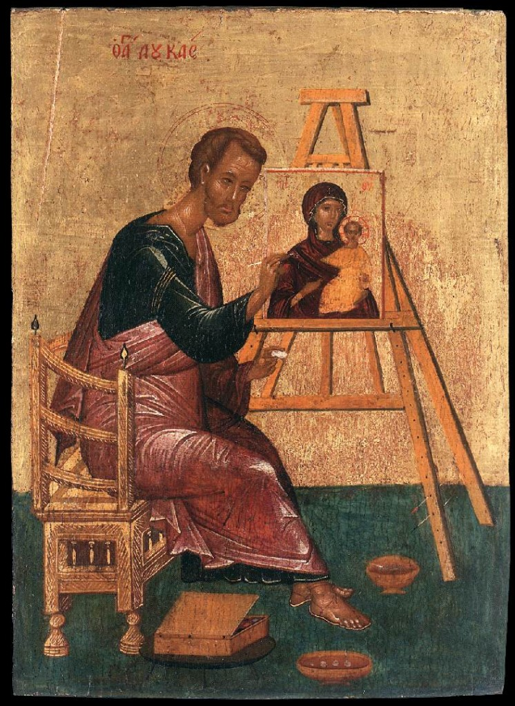 St Luke the Evangelist writes the icon of the Theotokos Hodegetria (Unknown_painter_-_Luke_Paints_the_Icon_of_the_Mother_of_God_Hodegetria_-_WGA23494.jpg) [Public Domain - Web Gallery of Art], via Wikimedia Commons