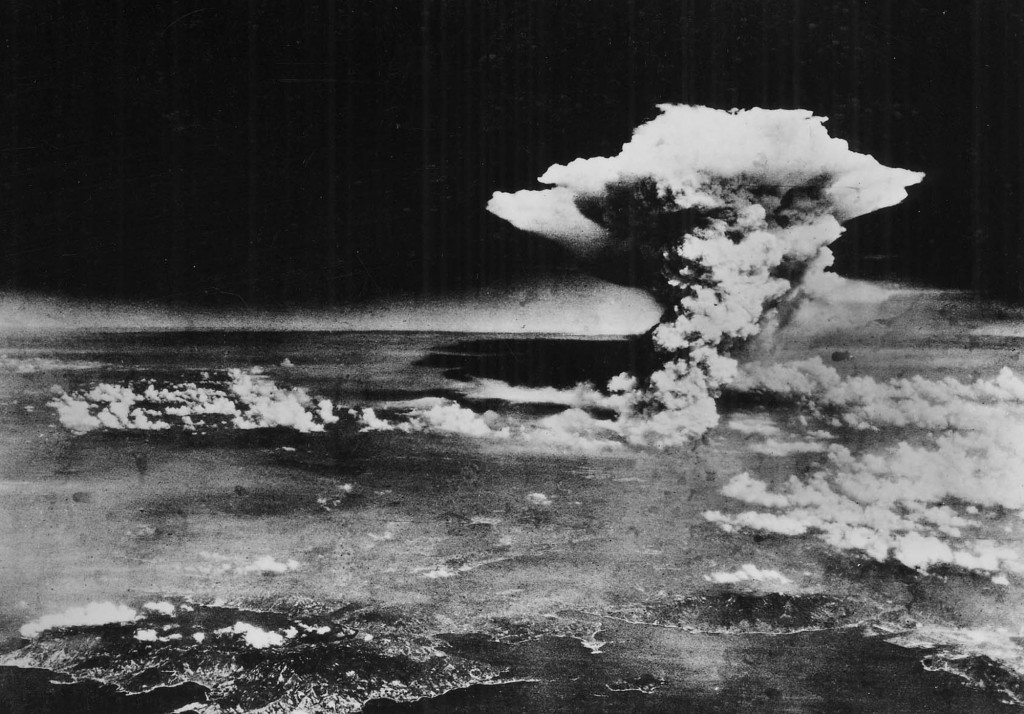 "Atomic cloud over Hiroshima, taken from ""Enola Gay"" flying over Matsuyama, Shikoku (commentary by Chugoku Shimbun), 6 August 1945 - by 509th Operations Group (PD-US), via Wikimedia Commons"
