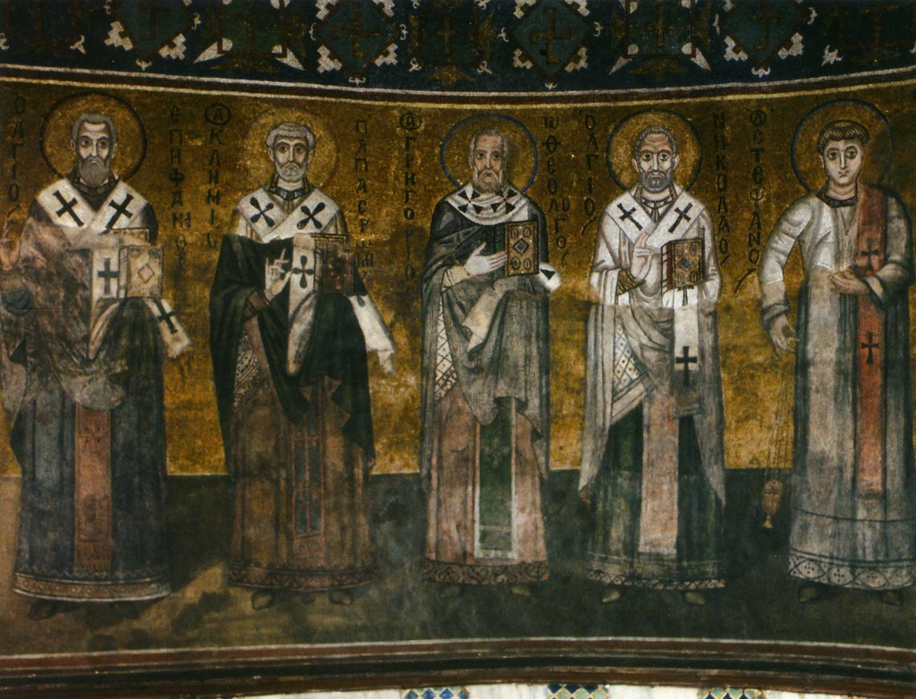 Church Fathers Order (left part) (Epiphanius of Salamis, Clement of Rome, Gregory the Theologian, St. Nicholas the Wonderworker and Archdeacon Stephen), St Sophia's Cathedral, Kyiv - by Google Arts and Culture (Public Domain), via https://www.google.com/culturalinstitute/beta/asset/xQEv8mJ3jXYLbw