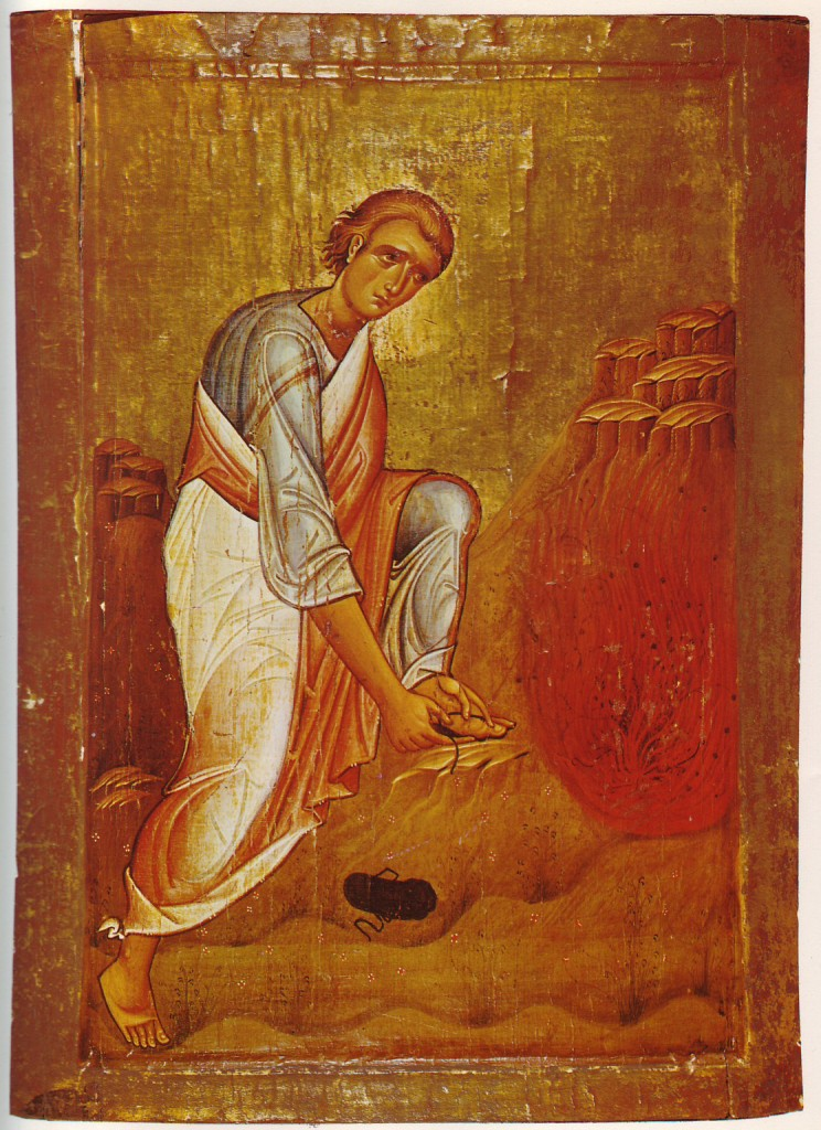 "Moses and the burning bush. Loca sancta icon from the 12th (13th?) century. 92 x 64 cm, Saint Catherine's Monastery, Sinai (Egypt) / K. Weitzmann: ""Die Ikone"" - PD-Art, via Wikimedia Commons"
