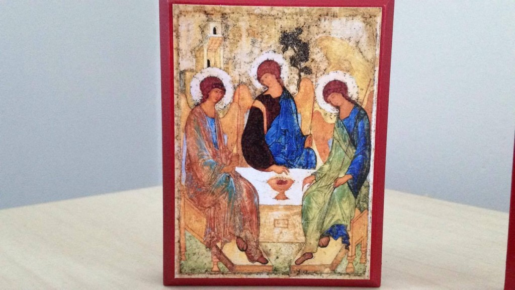 Rublev's Trinity icon on my desk - photo by me, icon from Legacy Icons