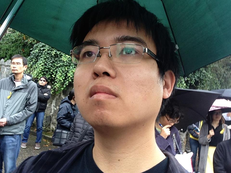 Me at an ecumenical prayer rally for the Umbrella Movement at Vancouver's Chinese Consulate where I first encountered an Eastern Catholic priest - photo by me