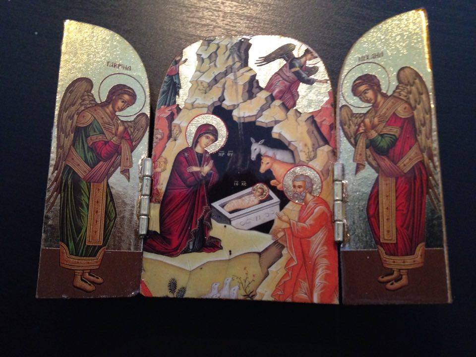 Miniature portable icon of the Nativity I received at my chrismation, 28 June 2016 - photo by me