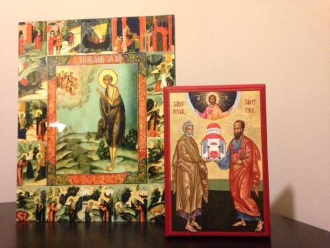 Holy Mary of Egypt and the Holy Apostles Peter and Paul at my icon corner - photo by me