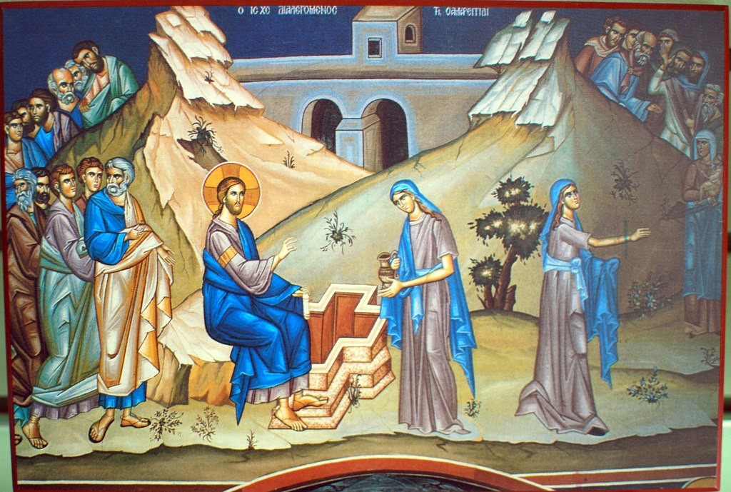 Photini and Christ at the Well The Samaritan Woman - by Ted, 1 August 2009 (3783460450_e9e7fa5b5c_b.jpg) (CC BY-SA 2.0 [https://creativecommons.org/licenses/by-sa/2.0/]), via Flickr