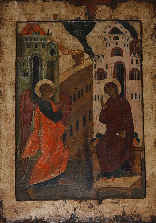 The Annunciation, russian icon from the 1500s. National Museum, Stockholm. - by Bjoertvedt, 24 November 2010 (536px-Icon_1500s_Annunciation) (CC BY-SA 3.0 [https://creativecommons.org/licenses/by-sa/3.0/deed.en]), via Wikimedia Commons