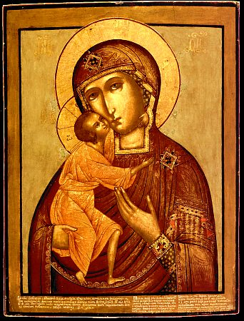 "Our Lady of St Theodore (10th century), 18th Century copy of the holy protectress of Kostroma, following the same Byzantine ""Tender Mercy"" type - PD-Art, via Wikimedia Commons"
