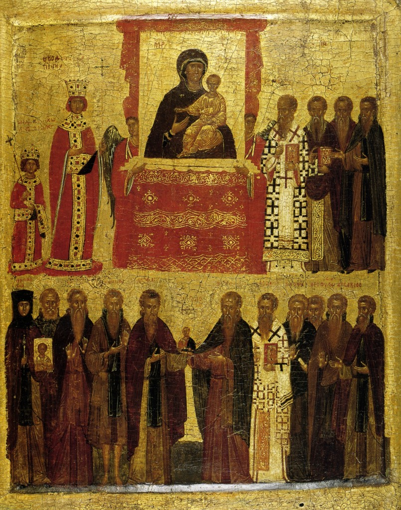 "Late 14th-early 15th century icon illustrating the ""Triumph of Orthodoxy"" under the Byzantine empress Theodora over iconoclasm. Patriarch Methodios I of Constantinople is on the top right, close to the Virgin - PD-Art, via Wikimedia Commons"